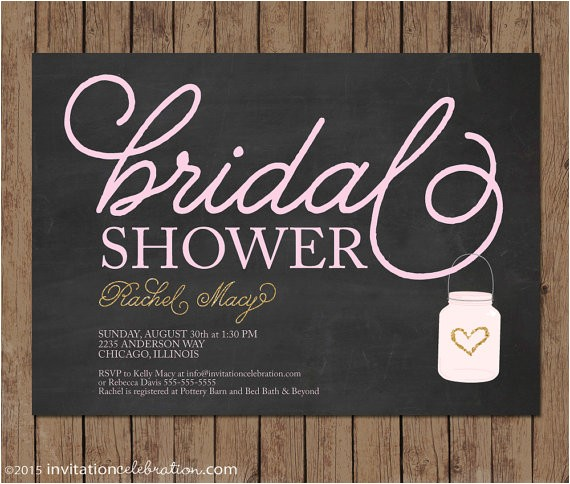 mason jar chalkboard bridal shower invitation 2