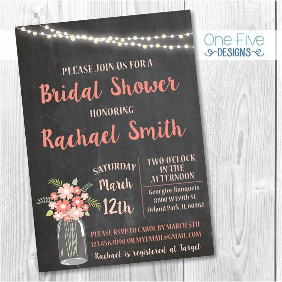 chalkboard bridal shower invitation mason jars