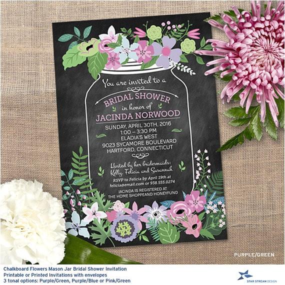 chalkboard mason jar floral bridal