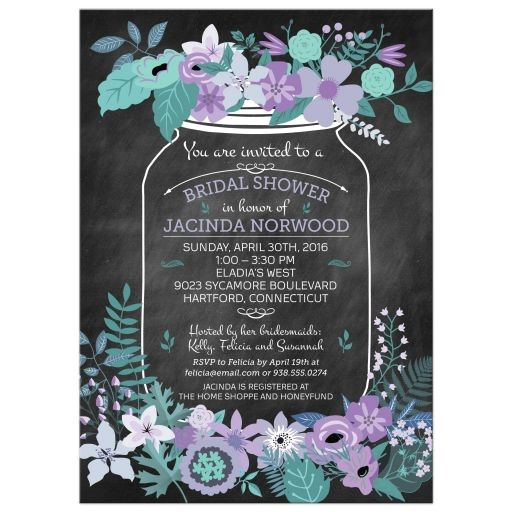 chalkboard mason jar purple and green flowers bridal wedding shower invitation
