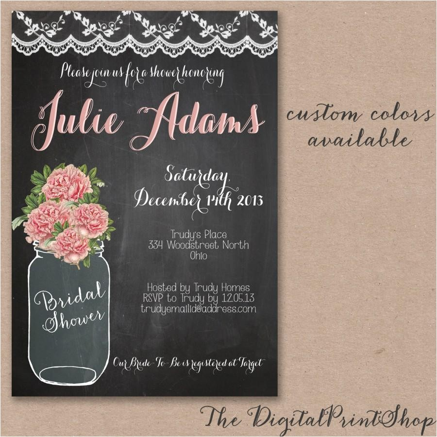 rustic baby shower mason jar bridal shower invite chalkboard pink blush peonies chic invitation printable digital able 94