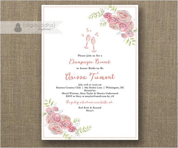 champagne brunch invitation bridal