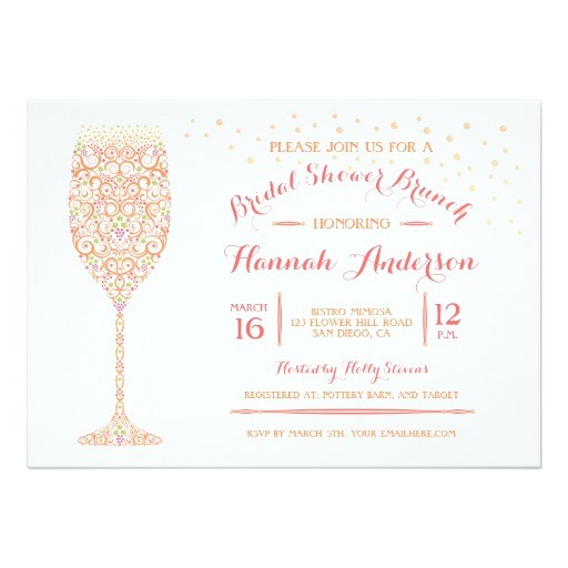lacy champagne bridal shower brunch invitation
