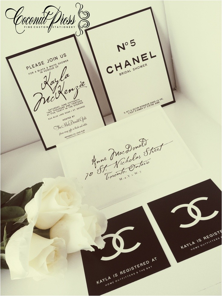 chanel inspired bridal shower invitations