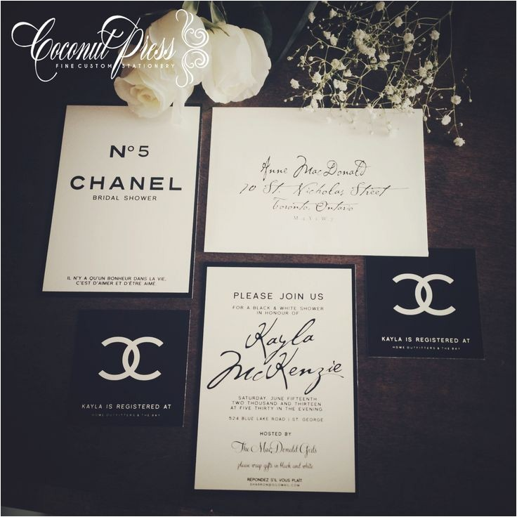 "Chanel themed Bridal Shower Invitations Classy Black & White ""coco Chanel Inspired Bridal Shower"