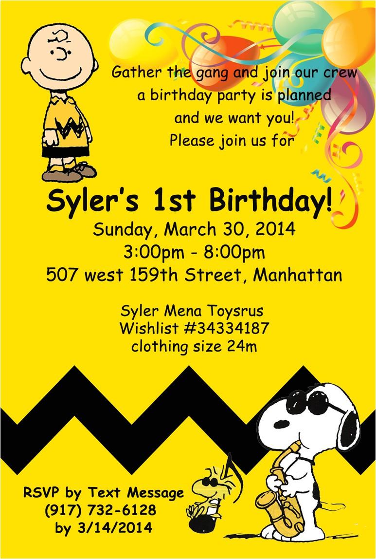 Charlie Brown Birthday Invitations Charlie Brown Birthday Invitation Sm events and Designs