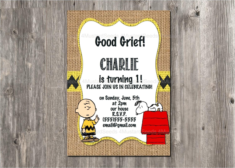 charlie brown birthday invitation snoopy