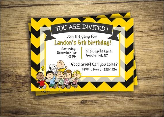 charlie brown birthday party invitation