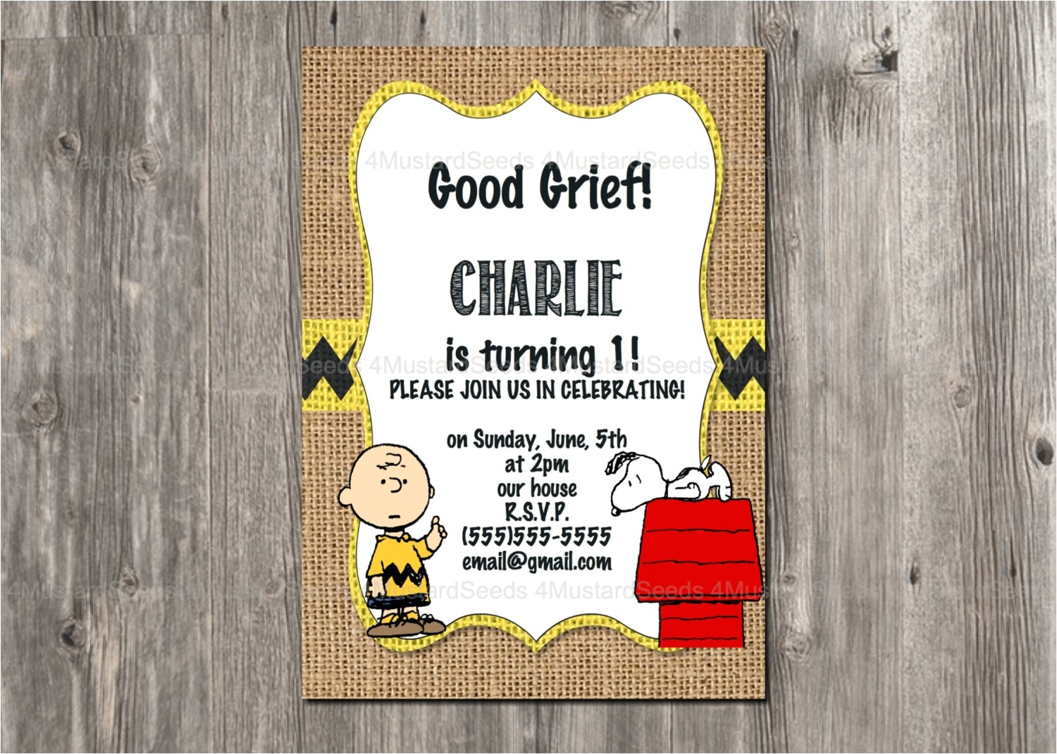 charlie brown birthday invitation snoopy