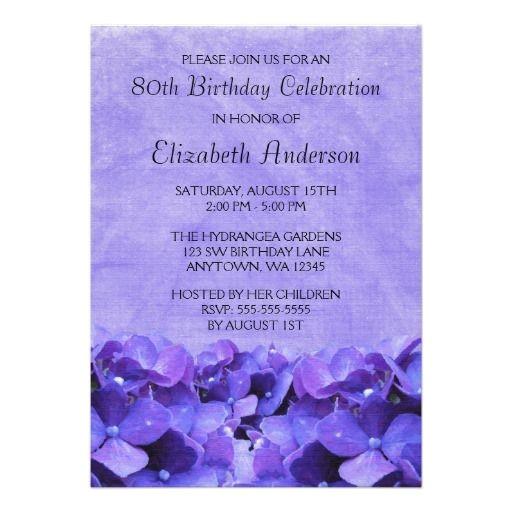 Cheap 80th Birthday Invitations Gt Discount Purple Hydrangeas 80th Birthday Party