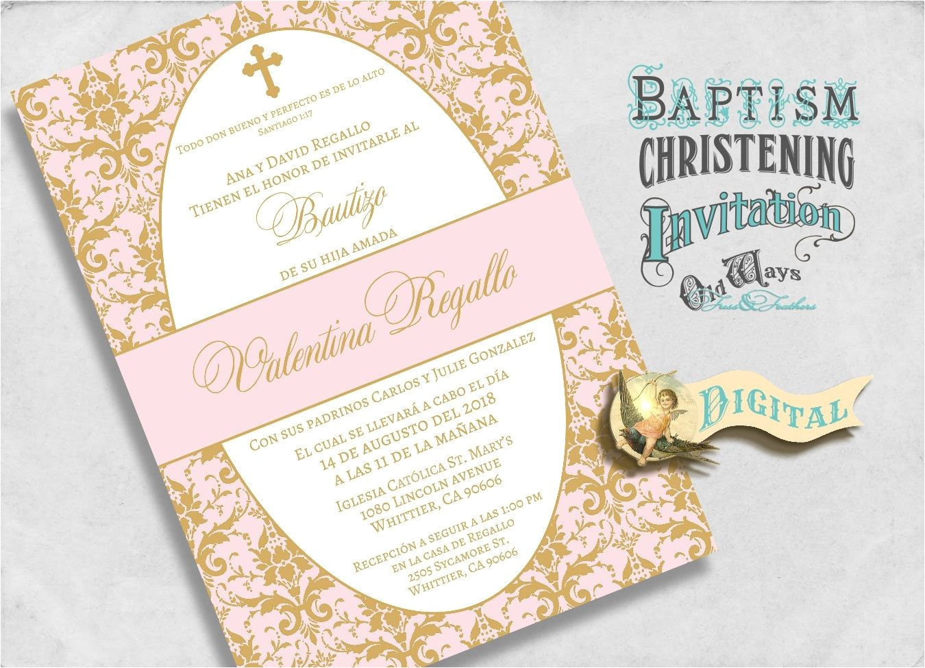 cheap elegant baptism invitations