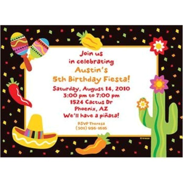 fiesta party personalized invitation each