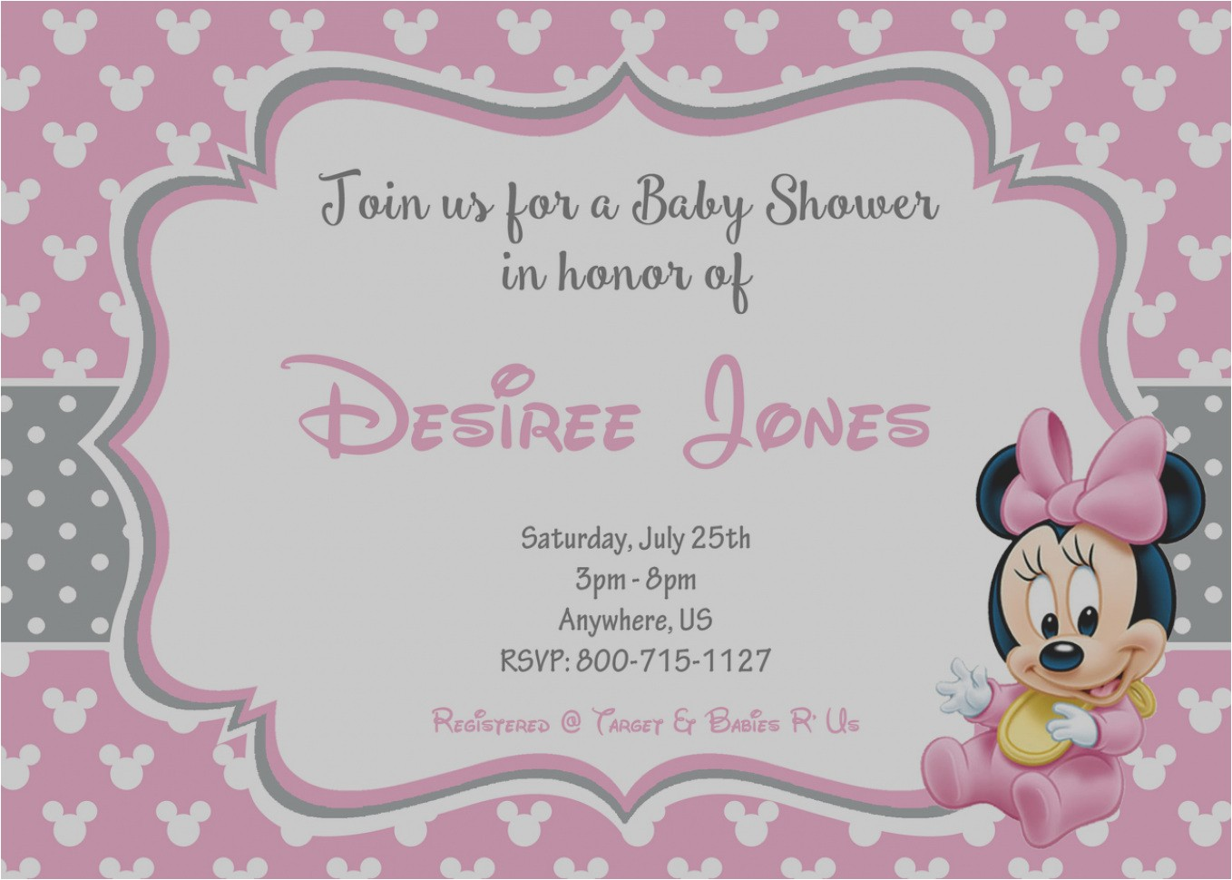 free minnie mouse baby shower invitations
