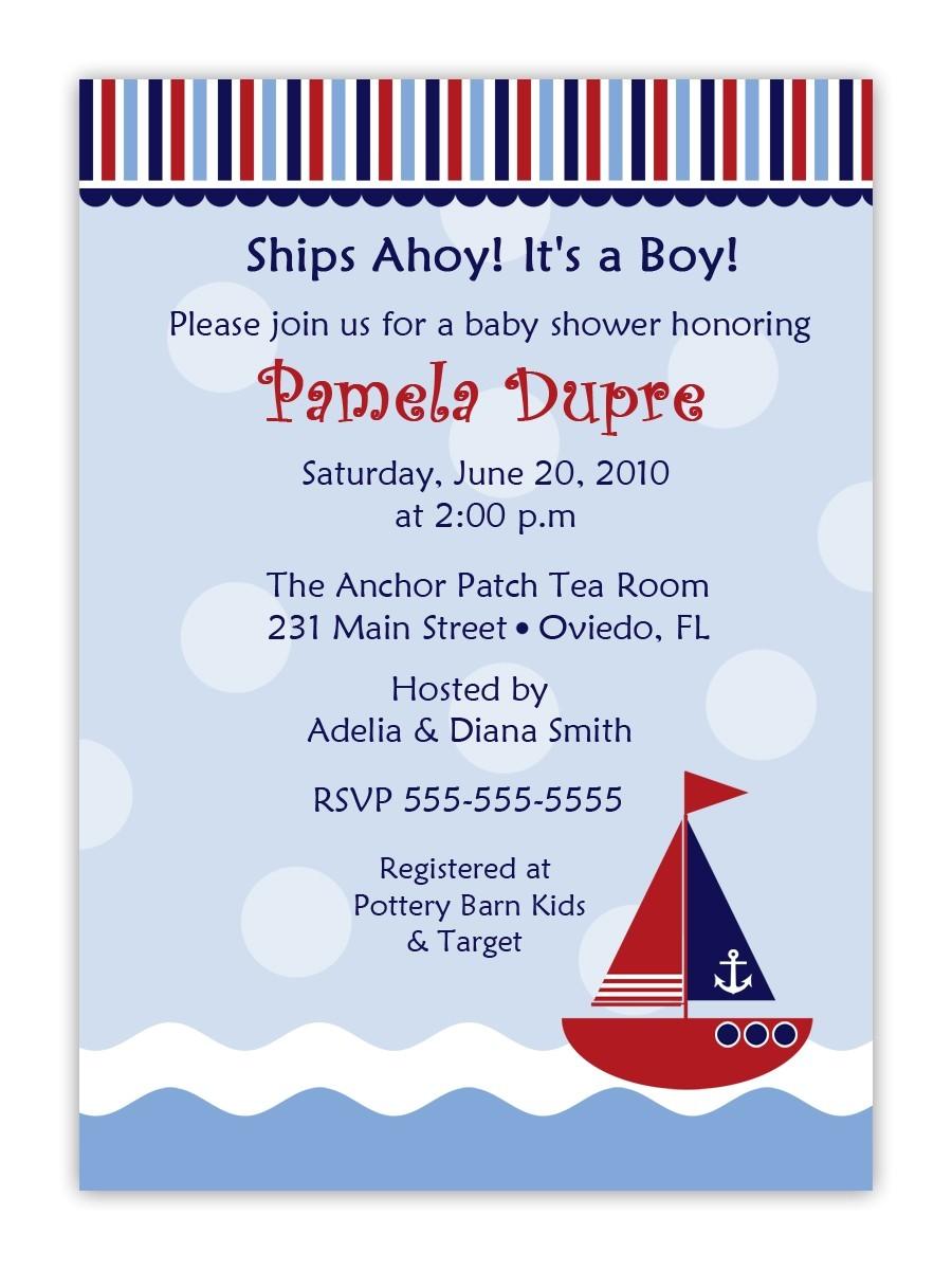 cheap nautical theme baby shower invitations templates