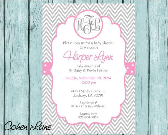 pink monogram baby shower invitation printable baby girl chev