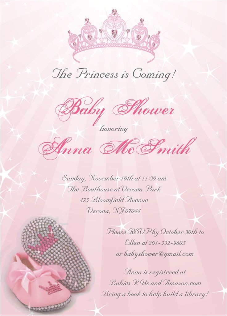 cheap princess baby shower invitations