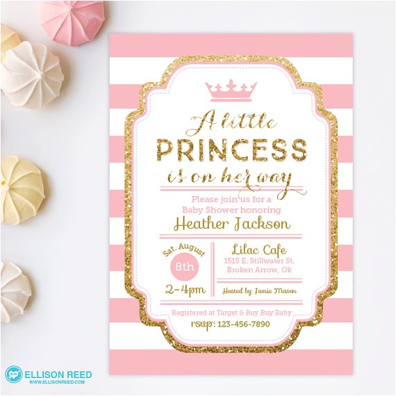 princess baby shower invitation pink and gold baby show