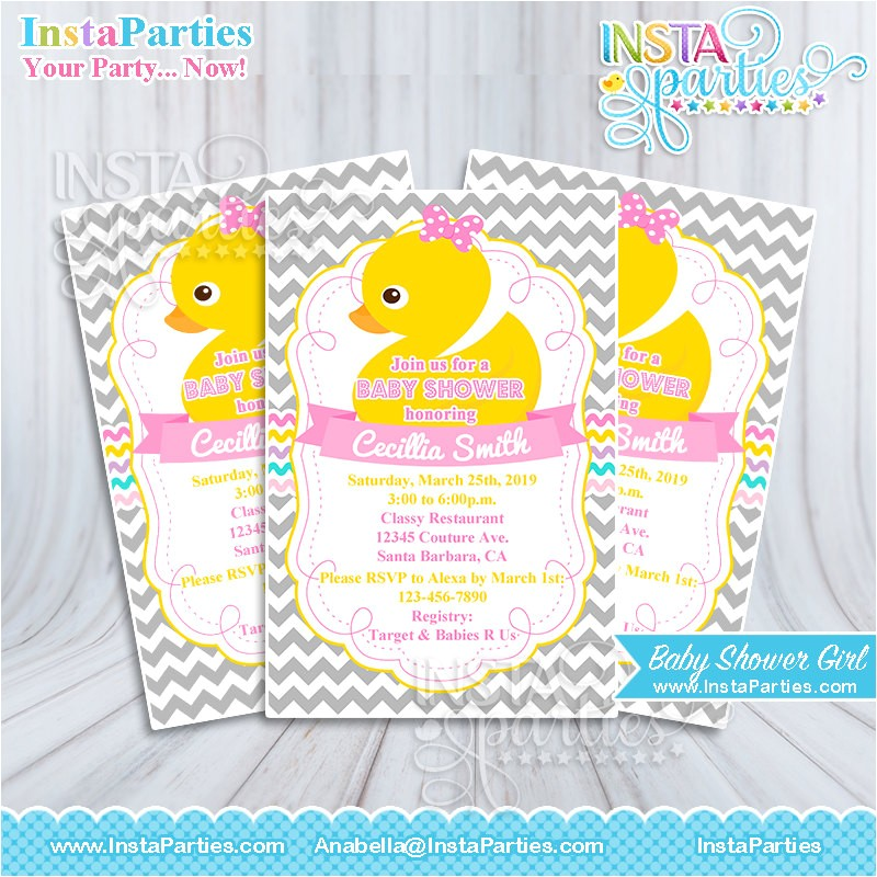 baby shower invitations girl rubber ducky yellow pink gray invitation digital printable file 4x6