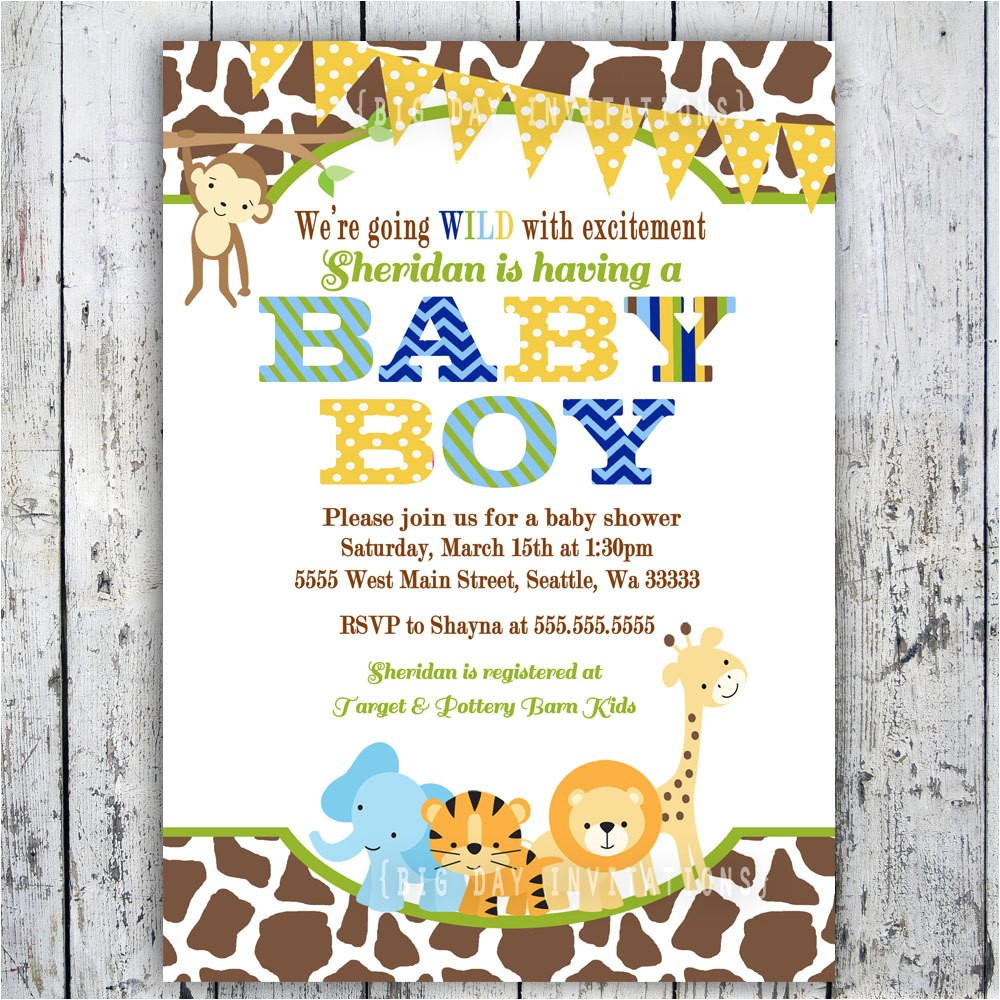 jungle theme baby shower invitations cheap