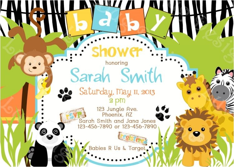 girl jungle safari animal baby shower invitations tags saf
