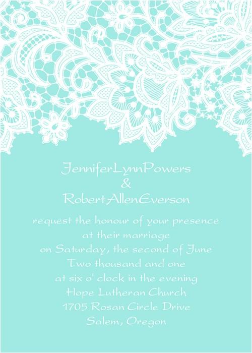elegant tiffany blue lace wedding invitations ewi335