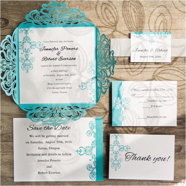 tiffany blue swirl laser cut wedding invitations ewws115