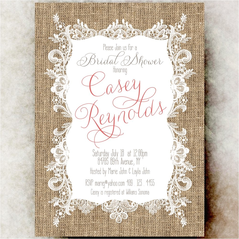 burlap lace bridal shower invitation coral bridal shower country bridal shower invitation printable bridal shower invitation
