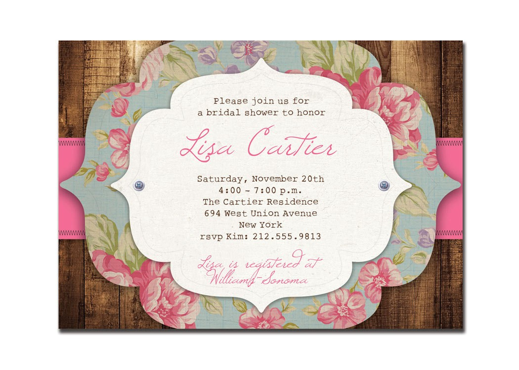 rustic bridal shower invitation rose
