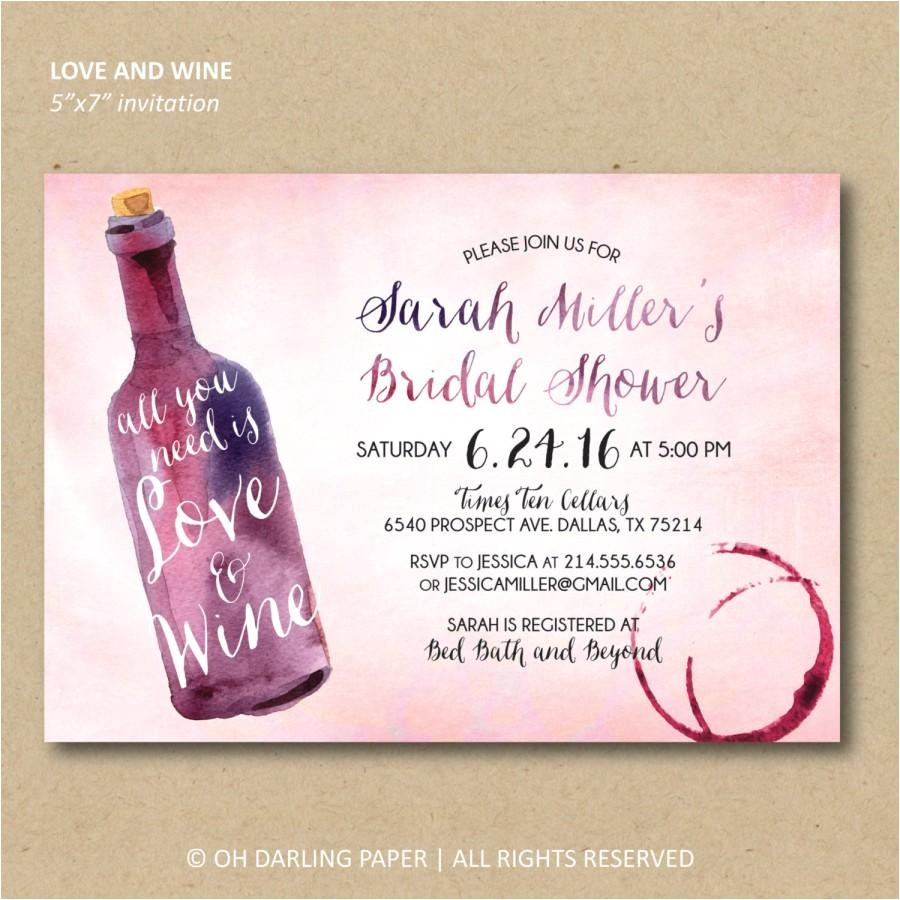 printable bridal shower invitation wine shower invitation watercolor wine invitation all you need is love and wine