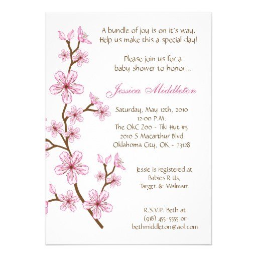 5x7 pink cherry blossom baby shower invitation