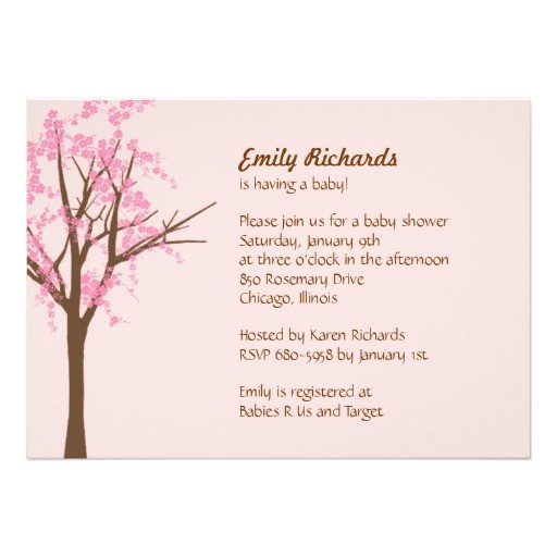 cherry blossom baby shower invitation