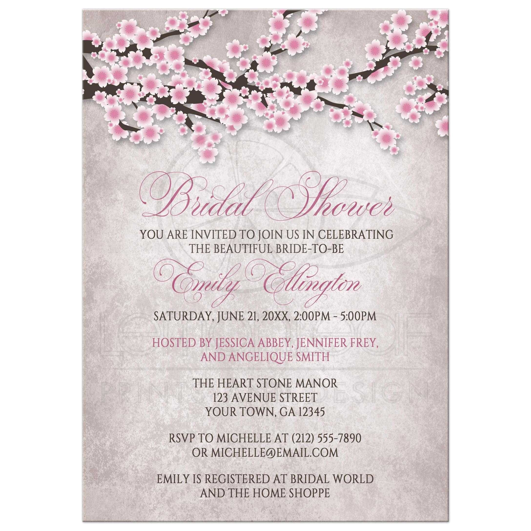 Cherry Blossom Bridal Shower Invitations Bridal Shower Invitations Rustic Pink Cherry Blossom