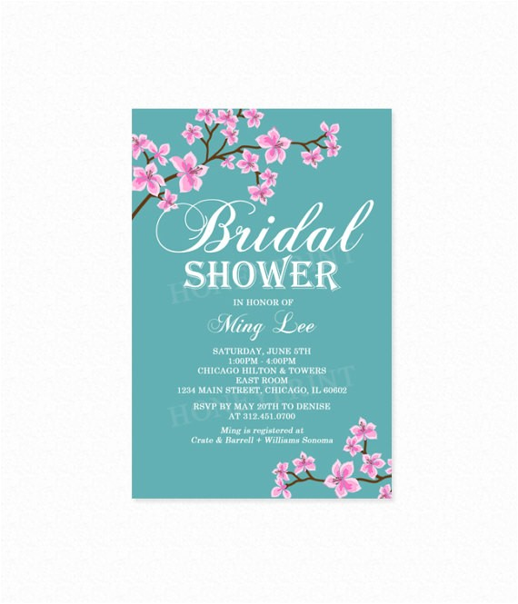 cherry blossom bridal shower invitation pink 3