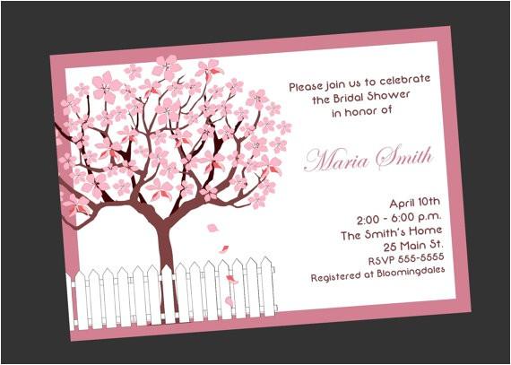 cherry blossom bridal shower invitation 2