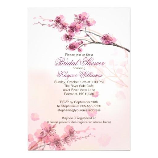 modern cherry blossom bridal shower invitation