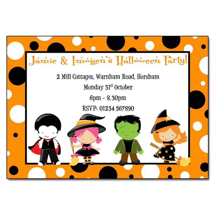 childrens fancy dress halloween party invitations