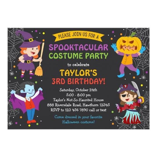 halloween birthday invitation costume party kids card 256819973399072071
