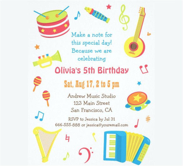 sample kids birthday invitation