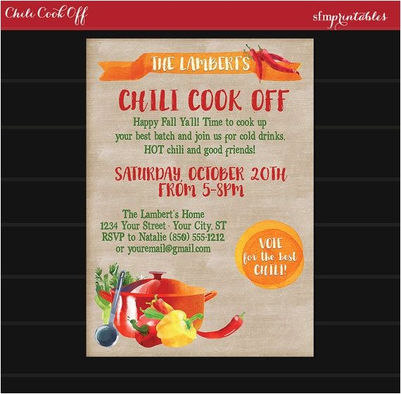 chili cookoff invitations and ideas