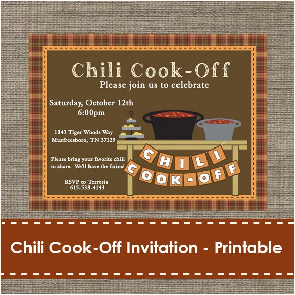 chili cook off invitation printable diy