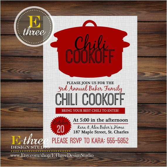 chili cookoff invitations fall party