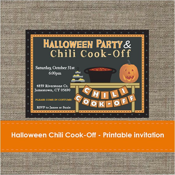 halloween chili cook off invitation diy