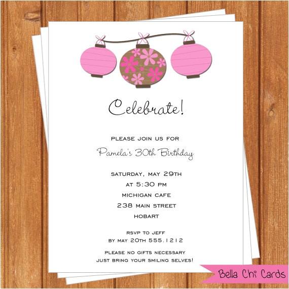 pink chinese lanterns adult birthday invitations