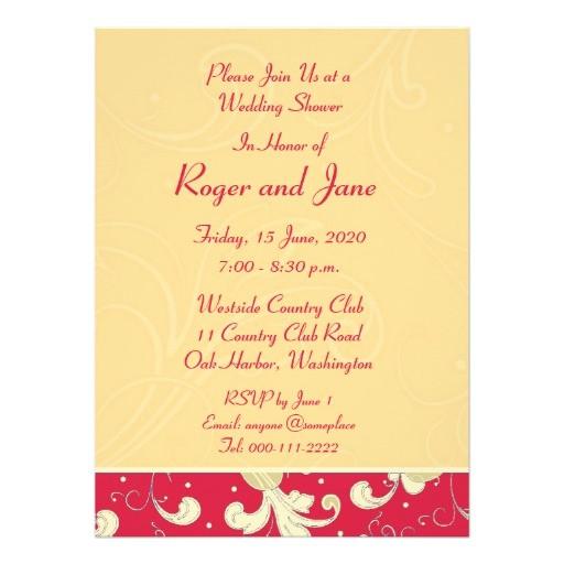 red gold christian cross bridal shower card invitation