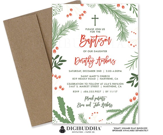 christmas baptism invitation holiday christening card 2