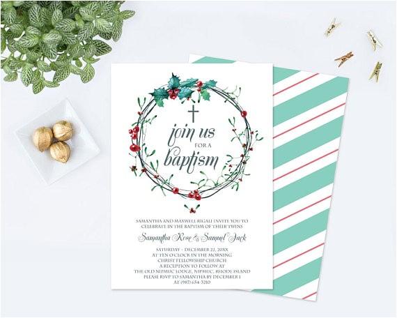 christmas baptism invitation template pdf editable
