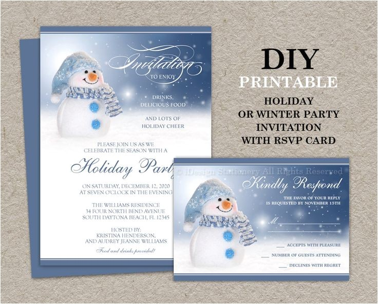 printable christmas and holiday party invitations
