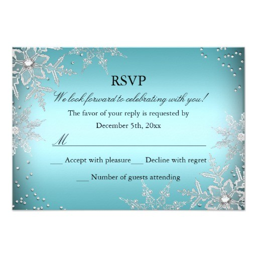 crystal snowflake blue christmas party rsvp invitation
