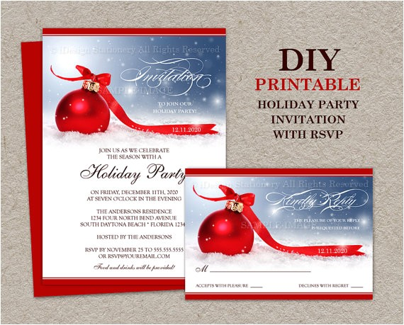 Christmas Party Invitations with Rsvp Cards Items Similar to Christmas Party Invitation with Rsvp Card