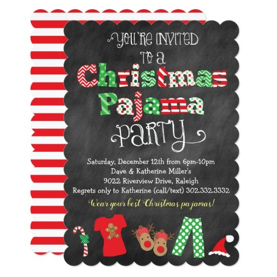 christmas pajama party chalkboard invitation 256322275082751196